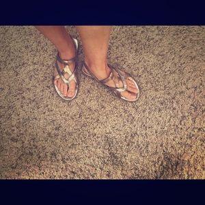 Born gold sandals size 8